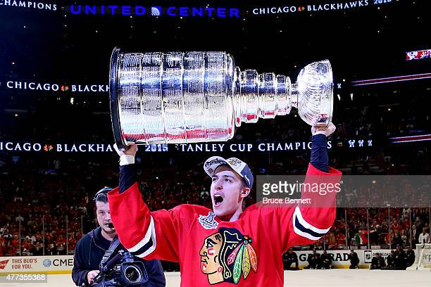 Teuvo Teravainen of the Chicago Blackhawks celebrates with the Stanley Cup after defeating the Tampa Bay Lightning by a score of 20 in Game Six to...