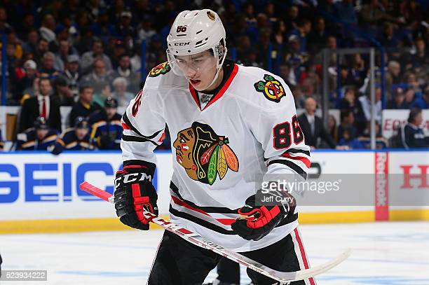 Teuvo Teravainen of the Chicago Blackhawks faces off against the St Louis Blues in Game One of the Western Conference First Round during the 2016 NHL...