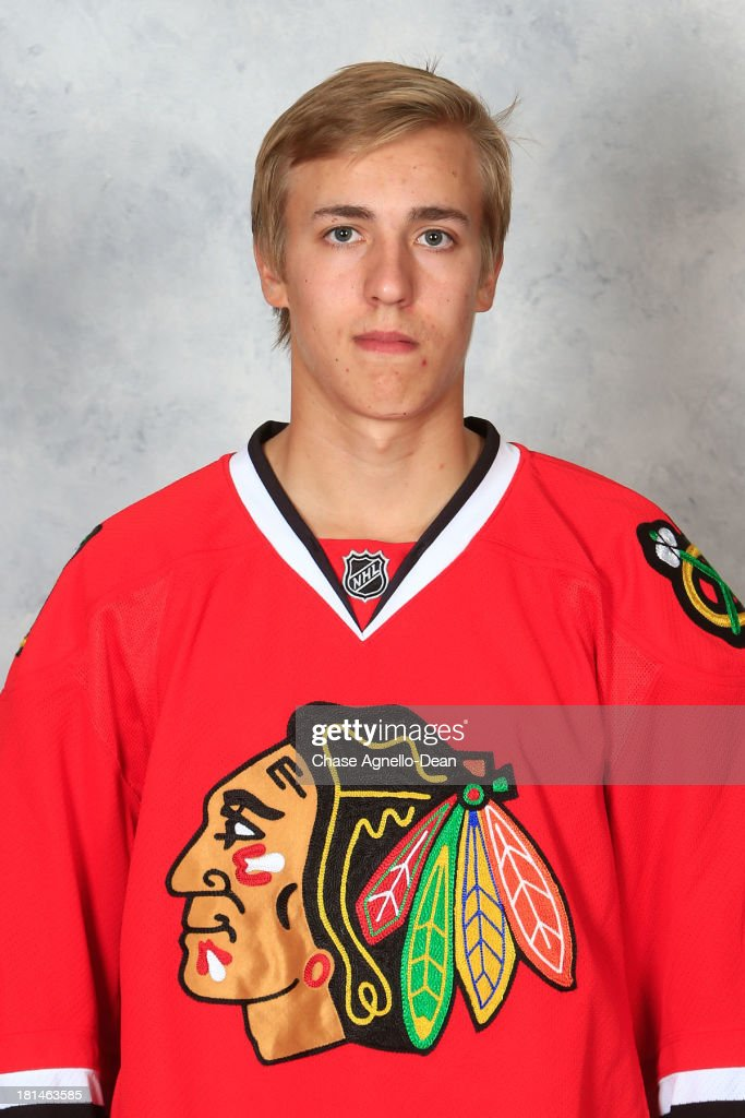 Teuvo Teravainen #23 of the Chicago Blackhawks poses for his official headshot for the 2013-2014 season on September 11, 2013 at the United Center in Chicago, Illinois.