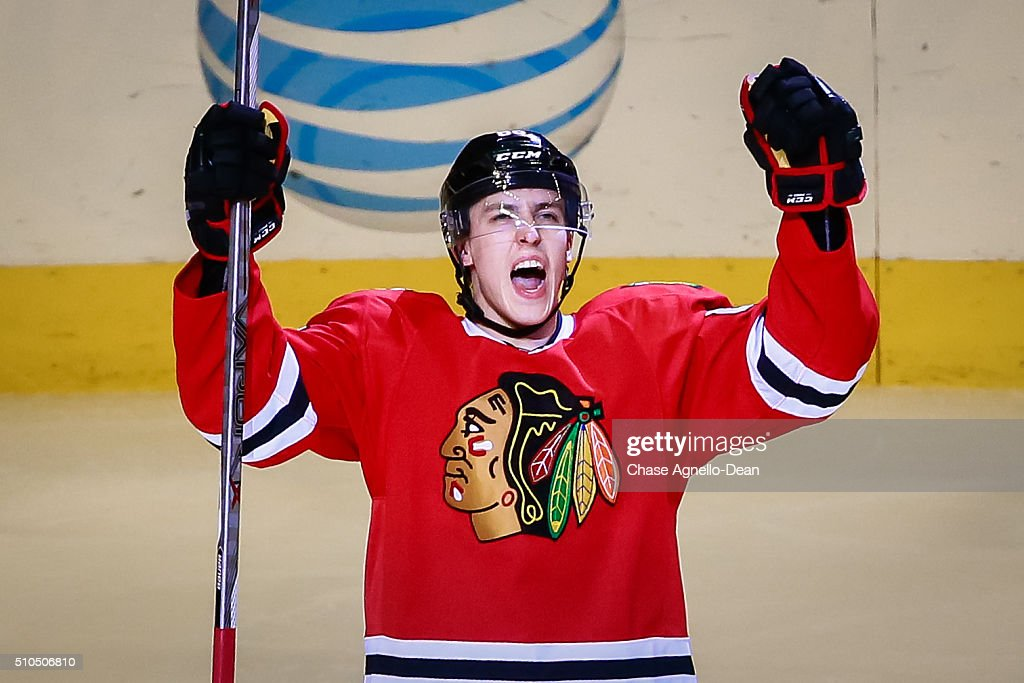 Teuvo Teravainen #86 of the Chicago Blackhawks reacts after scoring in the third period of the NHL game against the Toronto Maple Leafs at the United Center on February 15, 2016 in Chicago, Illinois.