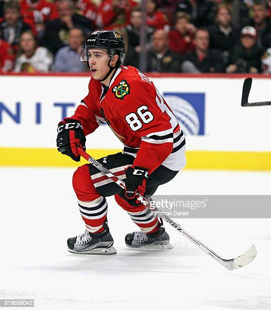 Teuvo Teravainen of the Chicago Blackhawks skates against the Arizona Coyotes at the United Center on April 5 2016 in Chicago Illinois The Blackhawks...
