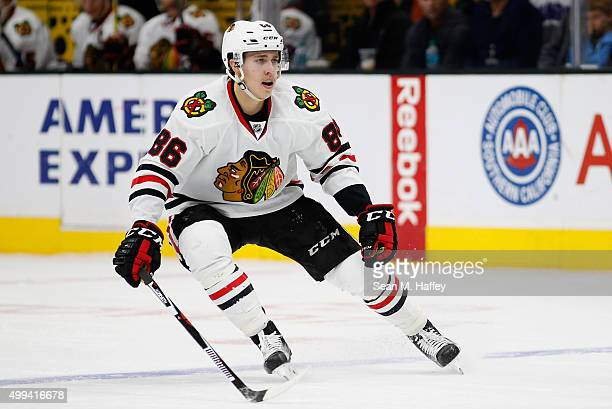 Teuvo Teravainen of the Chicago Blackhawks skates during a game against the Los Angeles Kings at Staples Center on November 28 2015 in Los Angeles...
