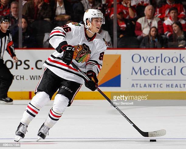 Teuvo Teravainen of the Chicago Blackhawks skates in an NHL hockey game against the New Jersey Devils at Prudential Center on November 6 2015 in...