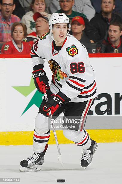 Teuvo Teravainen of the Chicago Blackhawks skates with the puck against the Minnesota Wild during the game on March 29 2016 at the Xcel Energy Center...