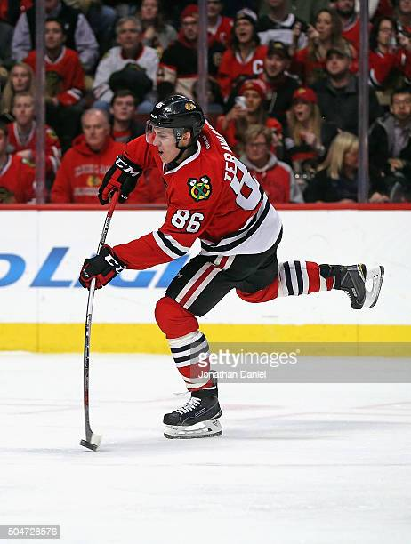Teuvo Teravainen of the Chicago Blackhawks takes a shot against the Nashville Predators at the United Center on January 12 2016 in Chicago Illinois...