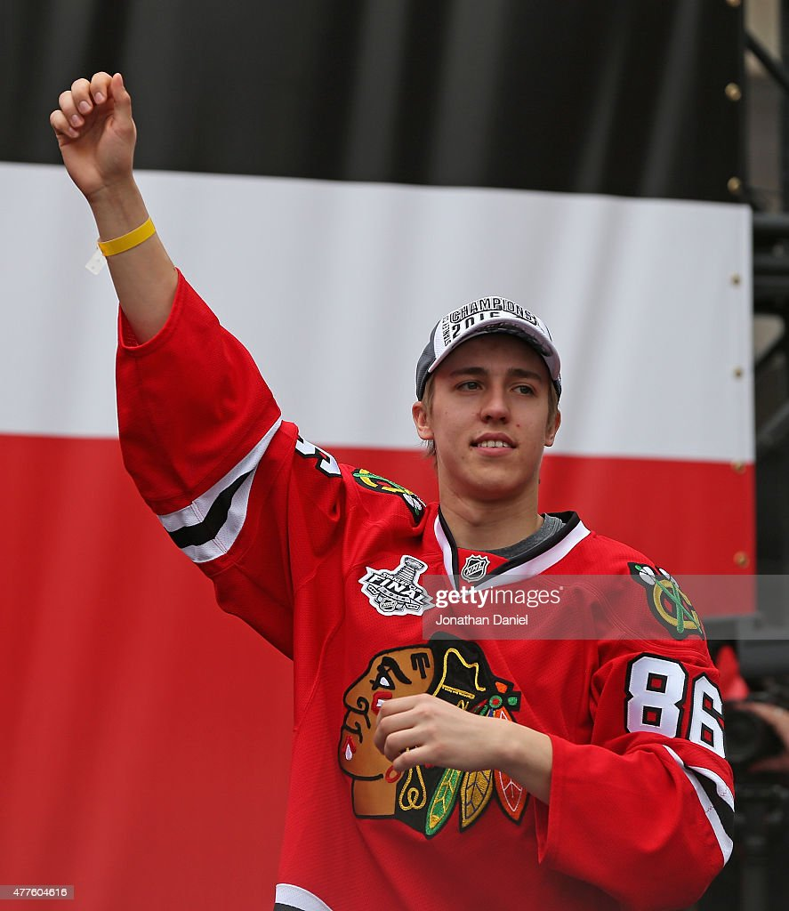 Teuvo Teravainen #86 of the Chicago Blackhawks waves to the crowd during the Chicago Blackhawks Stanley Cup Championship Rally at Soldier Field on June 18, 2015 in Chicago, Illinois. (Photo by Jonathan Daniel/Getty Images