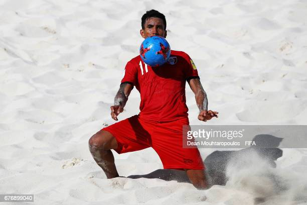 Teva Zaveroni of Tahati in action during the FIFA Beach Soccer World Cup Bahamas 2017 group D match between Tahiti and Poland at National Beach...