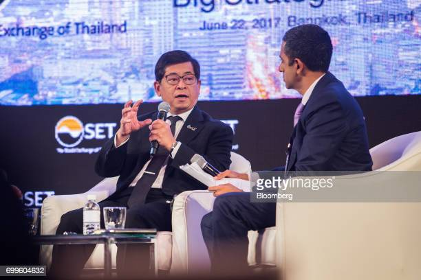Tevin Vongvanich president and chief executive officer of PTT Pcl left speaks during the Thailand's Big Strategic Move forum in Bangkok Thailand on...