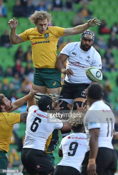 Tevita Cavubati of Fiji and Ned Hanigan of the Wallabies compete for the ball in a lineout during the International Test match between the Australian...