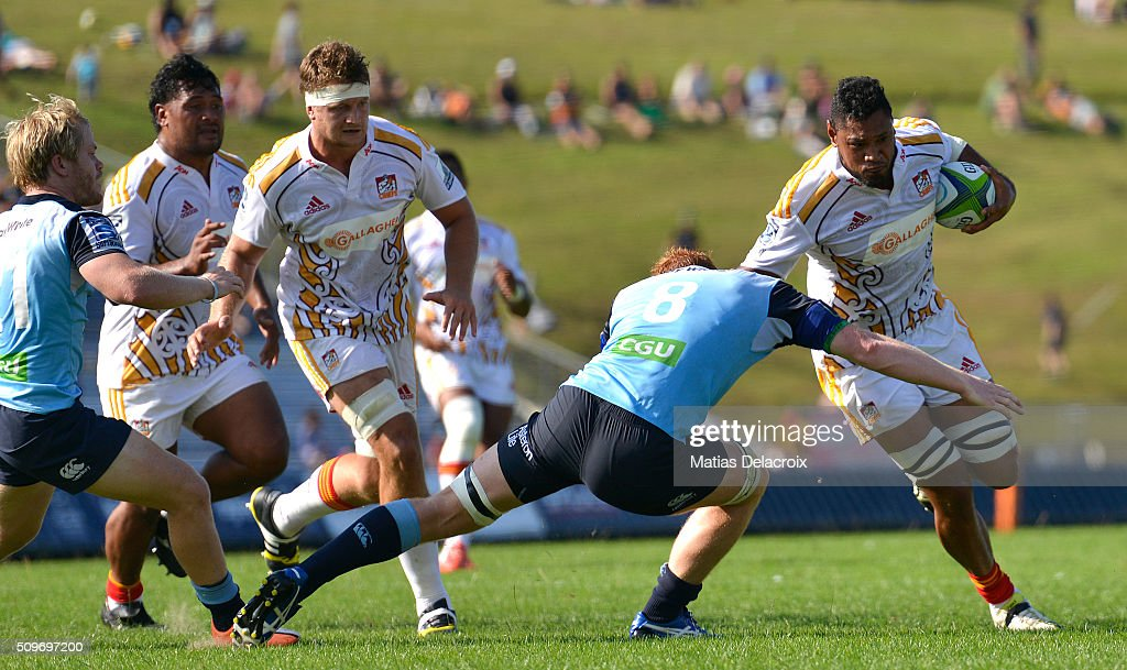 Tevita Koloamatangi of Chiefs runs with the ball during the Super Rugby trial match between the Chiefs and the Waratahs at Rotorua International Stadium on February 12, 2016 in Rotorua, New Zealand.