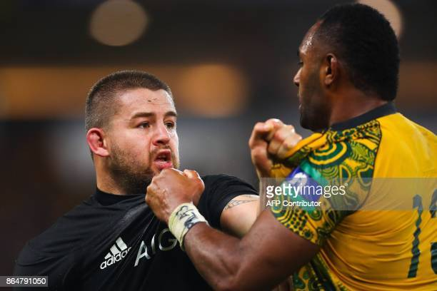 Tevita Kuridrani of Australia and Dane Coles face off during the test match between Australia and New Zealand at Suncorp SStadium in Brisbane on...