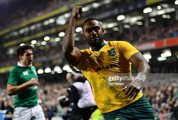 Tevita Kuridrani of Australia celebrates scoreing his side's second try during the international match between Ireland and Australia at the Aviva...