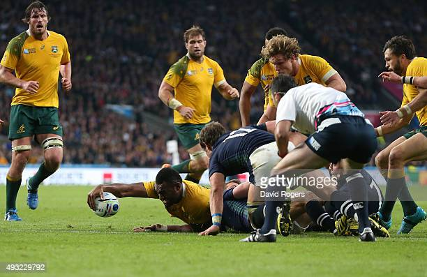 Tevita Kuridrani of Australia scores his teams fifth try during the 2015 Rugby World Cup Quarter Final match between Australia and Scotland at...