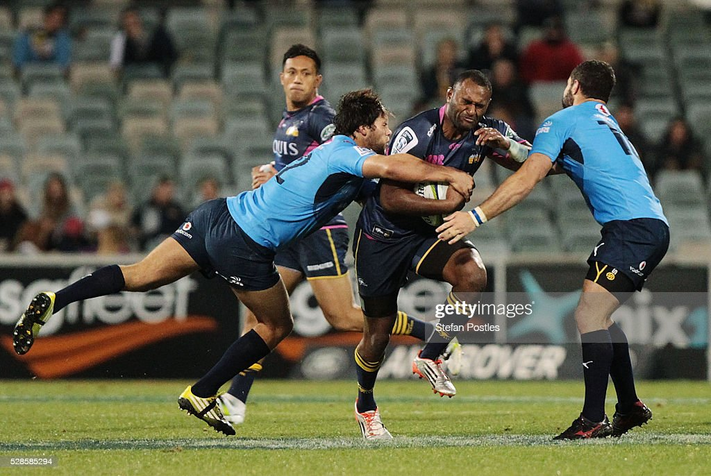 <a gi-track='captionPersonalityLinkClicked' href=/galleries/search?phrase=Tevita+Kuridrani&family=editorial&specificpeople=7612194 ng-click='$event.stopPropagation()'>Tevita Kuridrani</a> of the Brumbies is tackled during the round 11 Super Rugby match between the Brumbies and the Bulls at GIO Stadium on May 6, 2016 in Canberra, Australia.