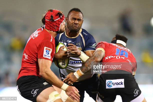 Tevita Kuridrani of the Brumbies is tackled during the round 12 Super Rugby match between the Brumbies and the Lions at GIO Stadium on May 12 2017 in...
