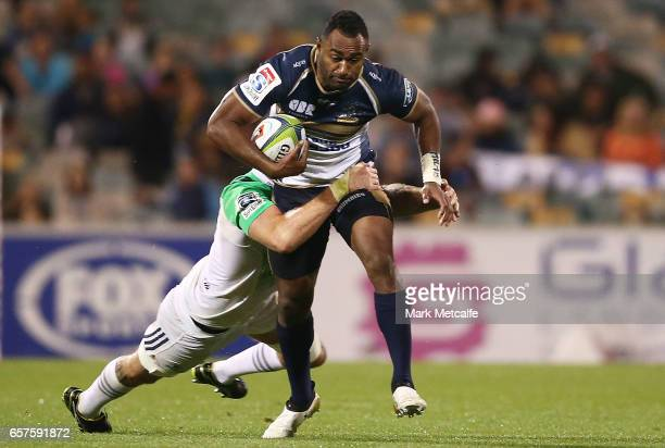 Tevita Kuridrani of the Brumbies is tackled during the round five Super Rugby match between the Brumbies and the Highlanders at GIO Stadium on March...