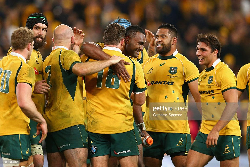 Tevita Kuridrani of the Wallabies and team mates celebrate winning the Rugby Championship match between the Australian Wallabies and the South Africa Springboks at Suncorp Stadium on July 18, 2015 in Brisbane, Australia.