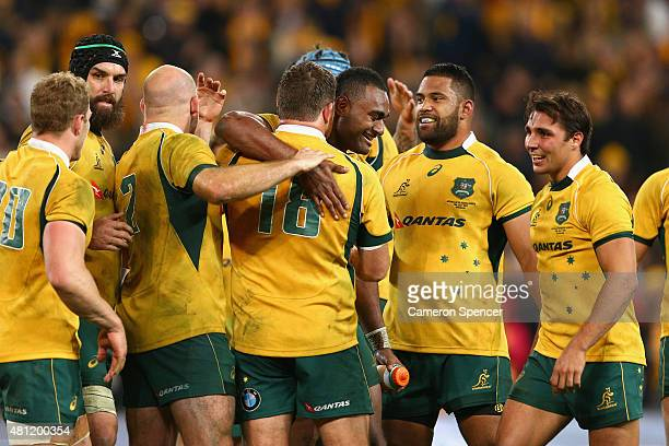 Tevita Kuridrani of the Wallabies and team mates celebrate winning the Rugby Championship match between the Australian Wallabies and the South Africa...