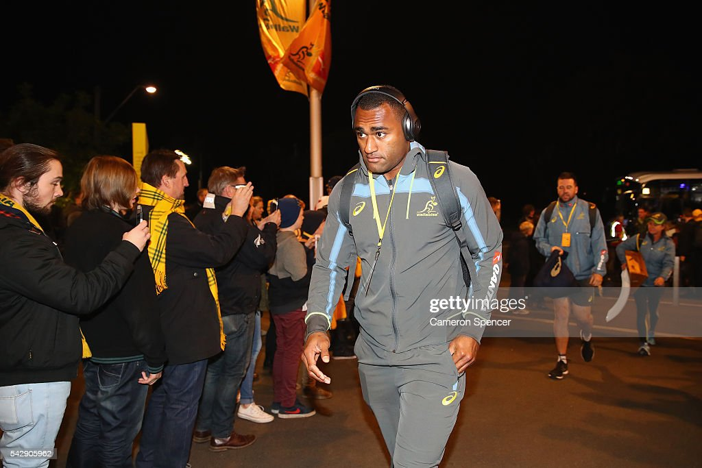 <a gi-track='captionPersonalityLinkClicked' href=/galleries/search?phrase=Tevita+Kuridrani&family=editorial&specificpeople=7612194 ng-click='$event.stopPropagation()'>Tevita Kuridrani</a> of the Wallabies arrives with team mates through the crowd prior to the International Test match between the Australian Wallabies and England at Allianz Stadium on June 25, 2016 in Sydney, Australia.