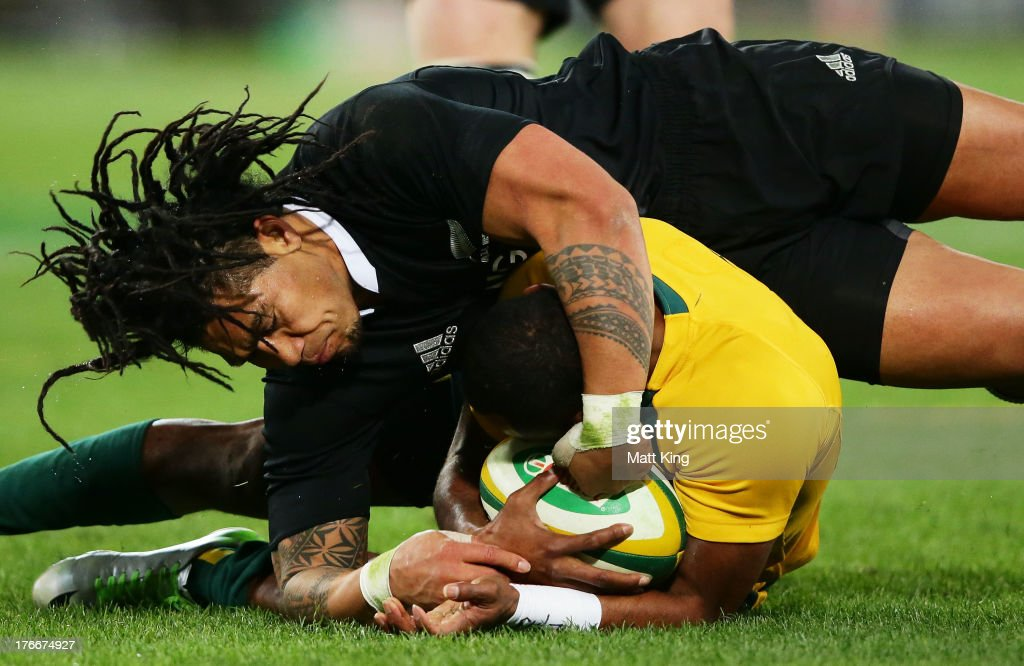 <a gi-track='captionPersonalityLinkClicked' href=/galleries/search?phrase=Tevita+Kuridrani&family=editorial&specificpeople=7612194 ng-click='$event.stopPropagation()'>Tevita Kuridrani</a> of the Wallabies is tackled by <a gi-track='captionPersonalityLinkClicked' href=/galleries/search?phrase=Ma%27a+Nonu&family=editorial&specificpeople=224641 ng-click='$event.stopPropagation()'>Ma'a Nonu</a> of the All Blacks during The Rugby Championship Bledisloe Cup match between the Australian Wallabies and the New Zealand All Blacks at ANZ Stadium on August 17, 2013 in Sydney, Australia.