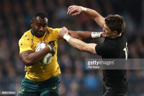 Tevita Kuridrani of the Wallabies is tackled by Ryan Crotty of the All Blacks during The Rugby Championship Bledisloe Cup match between the New...