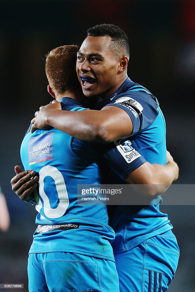 <a gi-track='captionPersonalityLinkClicked' href=/galleries/search?phrase=Tevita+Li&family=editorial&specificpeople=10115742 ng-click='$event.stopPropagation()'>Tevita Li</a> of the Blues celebrates with Ihaia West of the Blues after scoring a try during the Super Rugby round ten match between the Blues and the Melbourne Rebels at Eden Park on April 30, 2016 in Auckland, New Zealand.