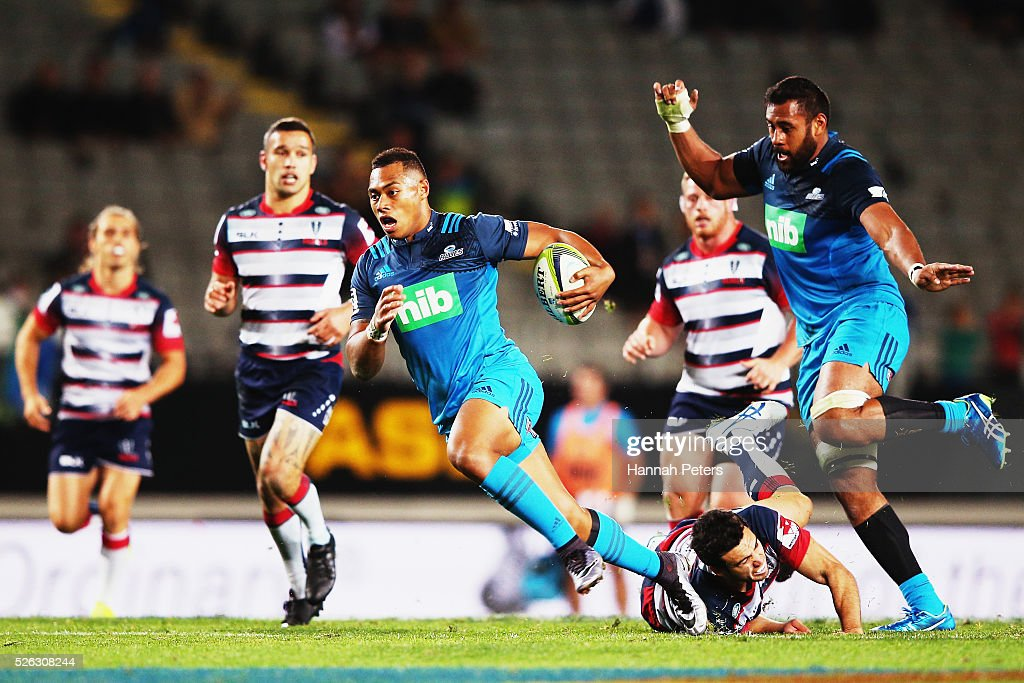 <a gi-track='captionPersonalityLinkClicked' href=/galleries/search?phrase=Tevita+Li&family=editorial&specificpeople=10115742 ng-click='$event.stopPropagation()'>Tevita Li</a> of the Blues makes a break during the Super Rugby round ten match between the Blues and the Melbourne Rebels at Eden Park on April 30, 2016 in Auckland, New Zealand.