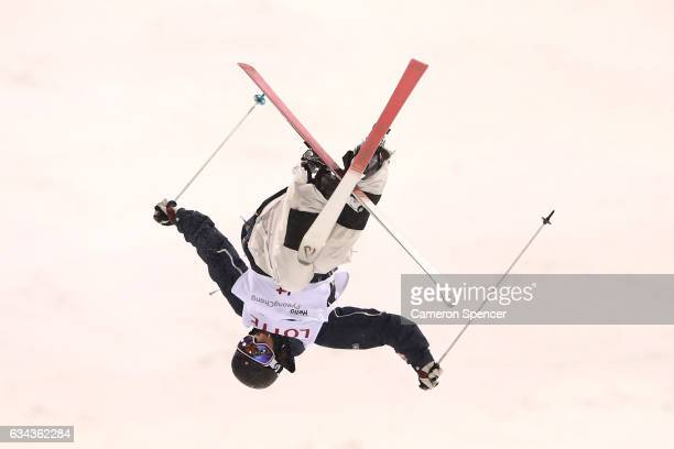 Tevje Lie Andersen of Norway performs an air during a men's moguls training session prior to the FIS Freestyle World Cup at Bokwang Snow Park on...