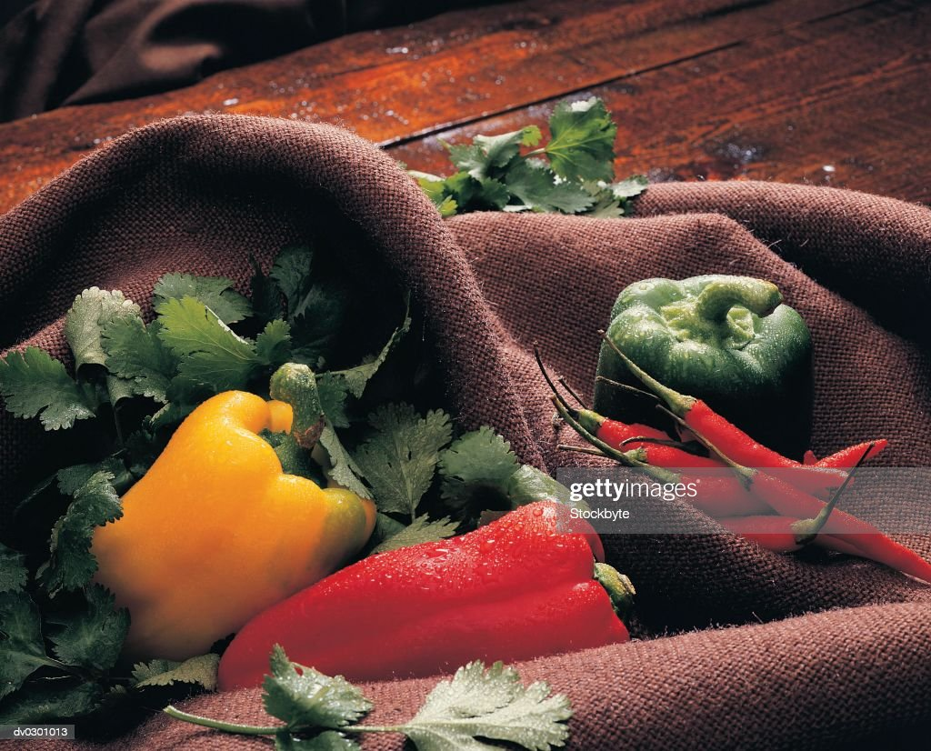 Tex Mex Ingredients - Bell Peppers, Chili Peppers and Cilantro : Stock Photo