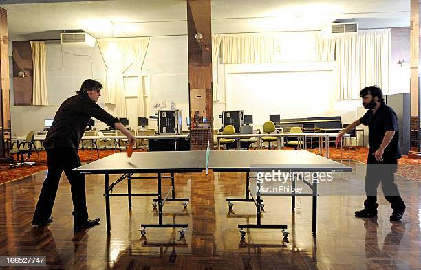 Tex Perkins and Joel Silbersher play table tennis backstage at the Thornbury Theatre on18th June 2011 in Melbourne Australia