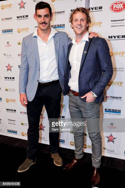 Tex Walker and Rory Sloane arrives ahead of the AFL Players' MVP Awards on September 12 2017 in Melbourne Australia