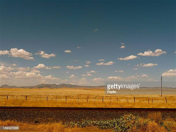 Texan desert landscape and rail tracks