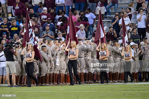 Texas AM Aggie Dance Team members enter the field before the New Mexico State Aggies vs Texas AM Aggies game on October 29 at Kyle Field in College...