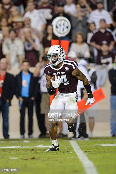 Texas AM Aggies defensive back Justin Evans returns a punt during the Ole Miss Rebels vs Texas AM Aggies game on November 12 at Kyle Field in College...