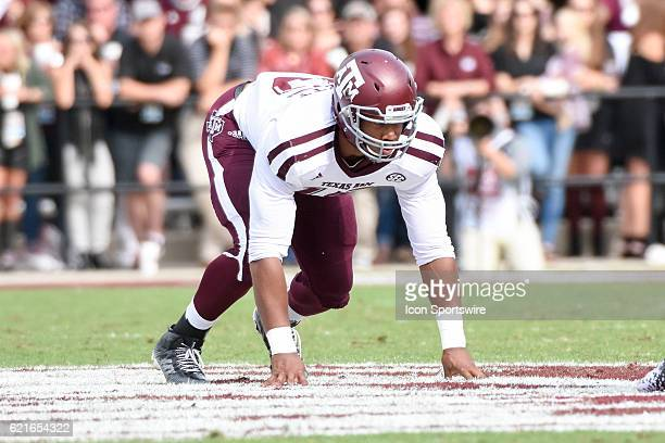 Texas AM Aggies defensive lineman Myles Garrett in a four point stance during the football game between Mississippi St and Texas AM on November 5...