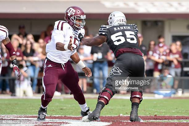 Texas AM Aggies defensive lineman Myles Garrett is blocked by Mississippi State Bulldogs offensive lineman Martinas Rankin during the football game...