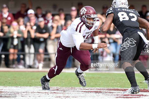 Texas AM Aggies defensive lineman Myles Garrett rushes the quarterback during the football game between Mississippi St and Texas AM on November 5...