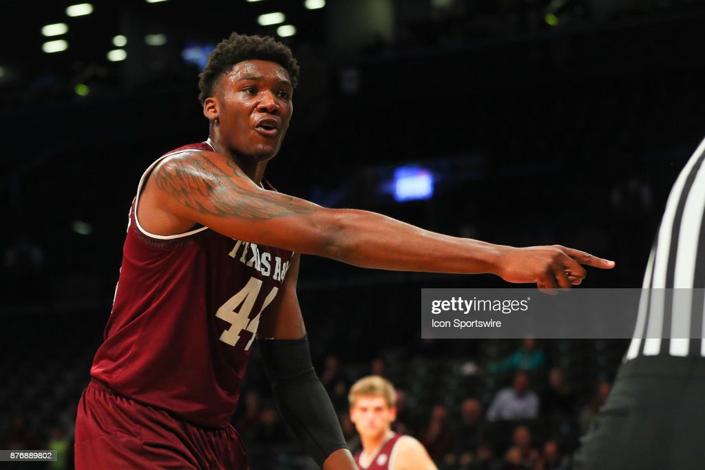 Texas A&M Aggies forward Robert Williams (44) during the first half of the Legends Classic College Basketball game between the Oklahoma State Cowboys and the Texas A&M Aggies on November 20, 2017, at the Barclays Center in Brooklyn, NY.