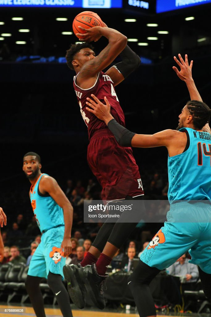 Texas A&M Aggies guard Duane Wilson (13) during the second half of the Legends Classic College Basketball game between the Oklahoma State Cowboys and the Texas A&M Aggies on November 20, 2017, at the Barclays Center in Brooklyn, NY.