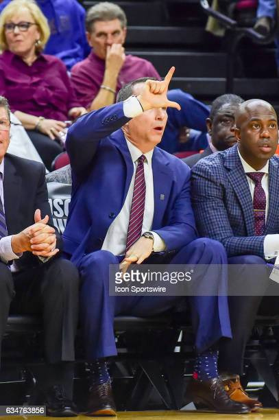 Texas AM Aggies head coach Billy Kennedy calls a play from the sideline during the SEC Men's basketball game between the Missouri Tigers and Texas AM...
