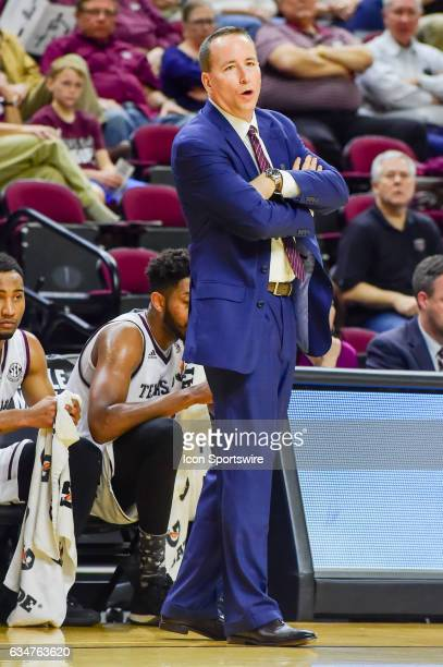 Texas AM Aggies head coach Billy Kennedy shows his angst for a call during the SEC Men's basketball game between the Missouri Tigers and Texas AM...