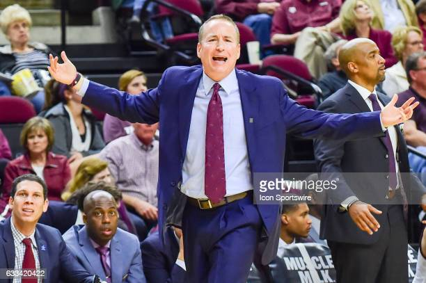 Texas AM Aggies head coach Billy Kennedy voices his opinion of a call during the Texas AM press during the SEC Men's basketball game between the...