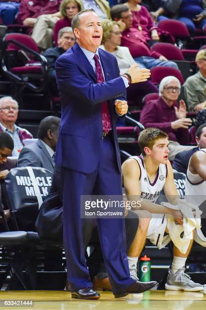 Texas AM Aggies head coach Billy Kennedy yells from the sideline during the SEC Men's basketball game between the Vanderbilt Commodores and Texas AM...