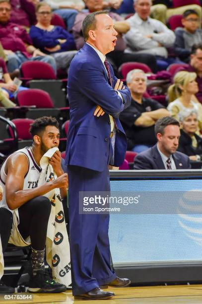 Texas AM Aggies head coach Billy Kennedy yells from the sideline during the SEC Men's basketball game between the Missouri Tigers and Texas AM Aggies...
