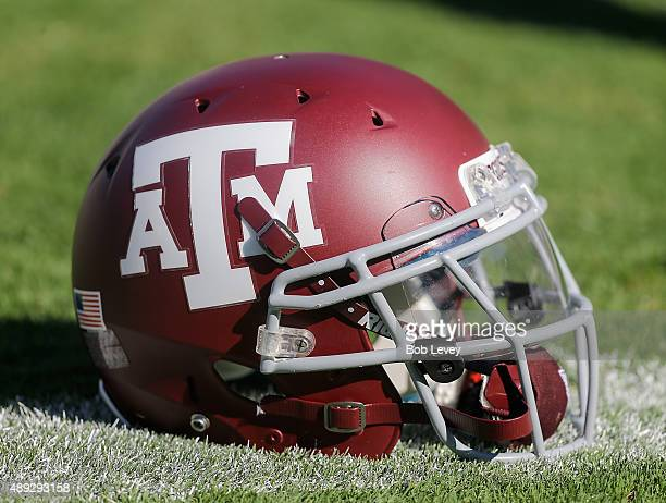 Texas AM Aggies helmet sits on Kyle Field on September 19 2015 in College Station Texas