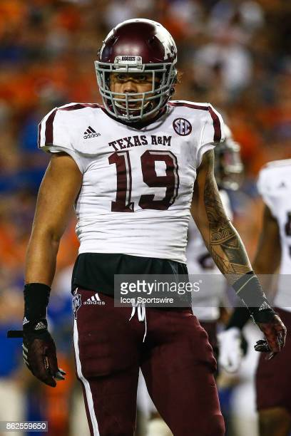 Texas AM Aggies linebacker Anthony Hines looks on during the game between the Texas AM Aggies and the Florida Gators on October 14 2017 at Ben Hill...