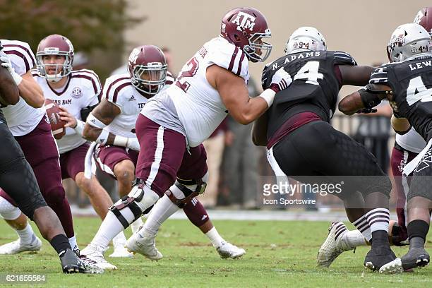 Texas AM Aggies offensive lineman Jermaine Eluemunor blocks Mississippi State Bulldogs defensive lineman Nelson Adams during the football game...