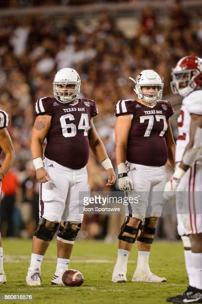 Texas AM Aggies offensive linemen Erik McCoy and Ryan McCollum get ready for a play during the college football game between the Alabama Crimson Tide...