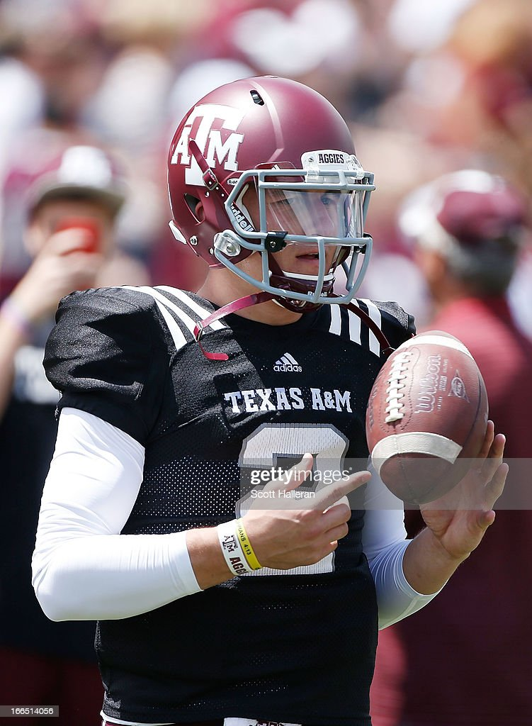 Texas A&M Aggies quarterback <a gi-track='captionPersonalityLinkClicked' href=/galleries/search?phrase=Johnny+Manziel&family=editorial&specificpeople=9703372 ng-click='$event.stopPropagation()'>Johnny Manziel</a> #2 waits on the field before the Maroon & White spring football game at Kyle Field on April 13, 2013 in College Station, Texas.
