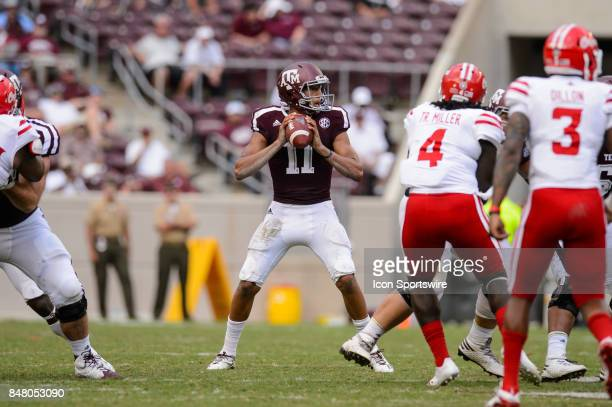 Texas AM Aggies quarterback Kellen Mond gets set to throw during the college football game between the Louisiana Ragin' Cajuns and the Texas AM...